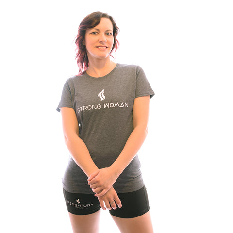 Grey Marl Strong Woman HD Tee