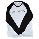 White & Black Long Sleeve Baseball Lift Heavy Tee