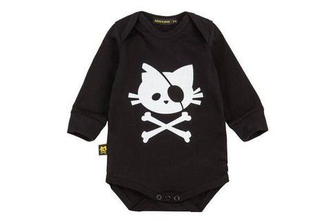 Black long sleeve Onesie with a citten print