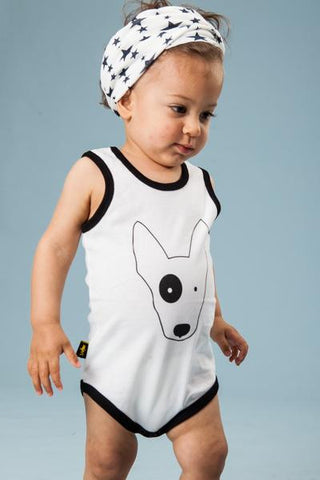 Short sleeve Onesie with a dog print