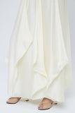 Vertically frilled silk skirt with multiple wired panels
