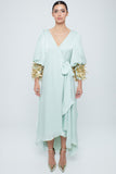 Puffed fitted sleeve cuff silky satin kaftan with fully embellished cuff of metallic straws and pearls