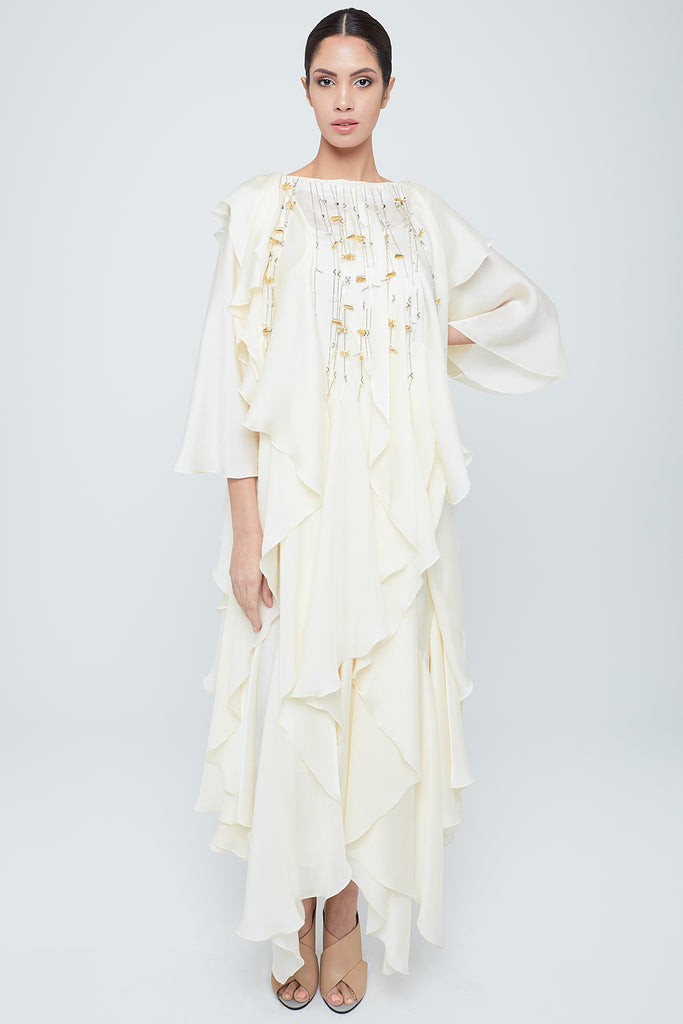 Fully frilled silk kaftan with pearl tassel all around neckline