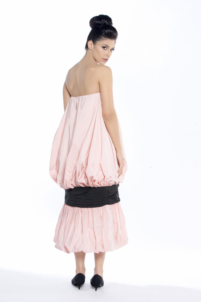 Cocktail Gathered Dress with Oversized Bow