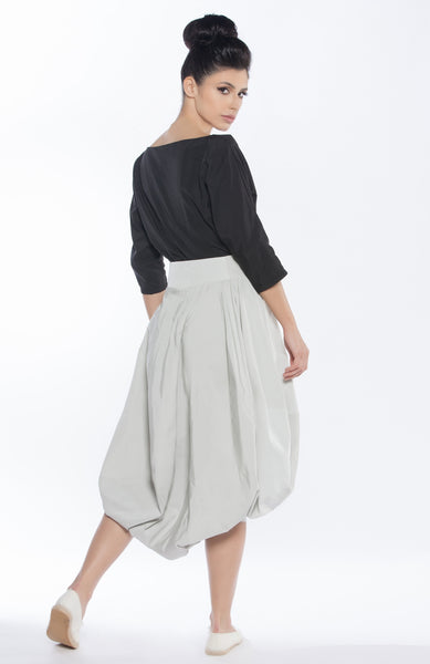 Abstract Cut Skirt with Oversized Bow Belt