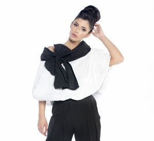 Cape Blouse with Oversized Bow