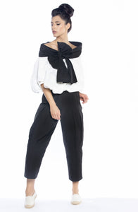 Wide Leg Pants with Inverted Pleats