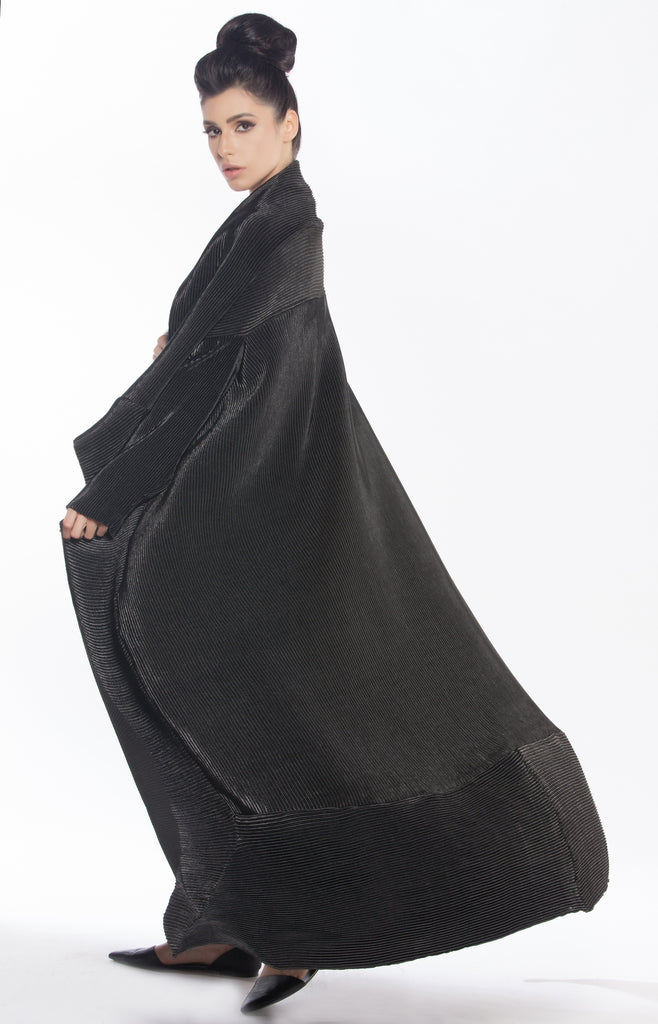 Pleated Squared Overlap Abaya