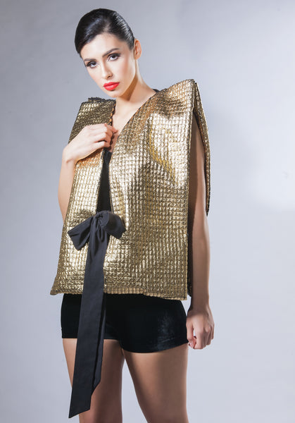 Metallic Vest with Bow Belt - Gold