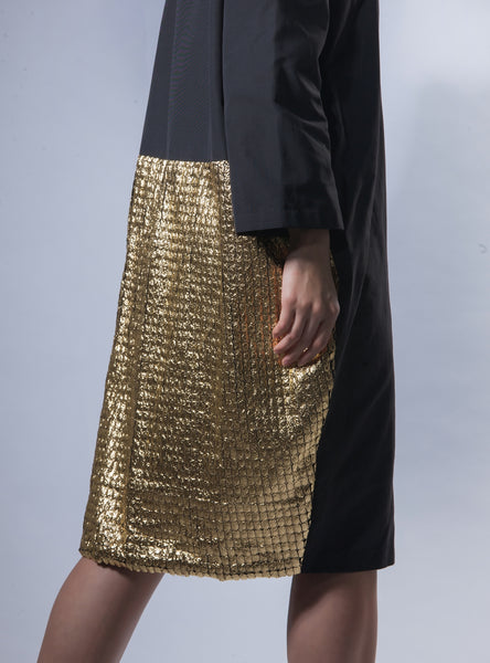 High Collar Metallic Blazer - Gold
