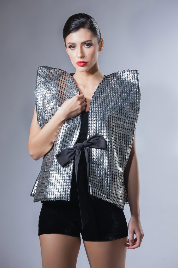 Metallic Vest with Bow Belt - Silver
