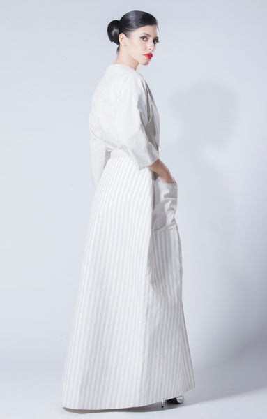 2 in 1 Silk Taffeta Abaya with Striped Skirt