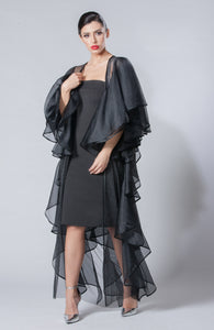 Tulle Organza Abaya with Full- Frilled Back