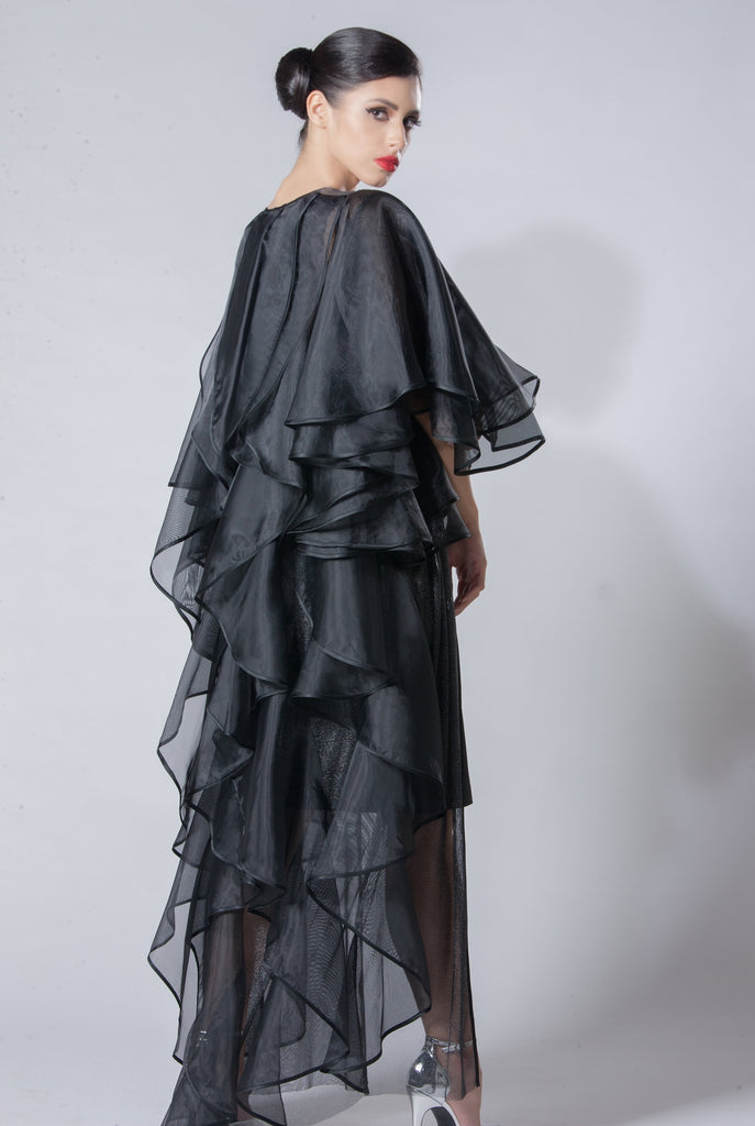 Tulle Organza Abaya with Full Frilled Back
