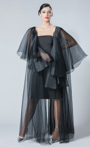 Tulle Organza Layered Abaya with V-Back