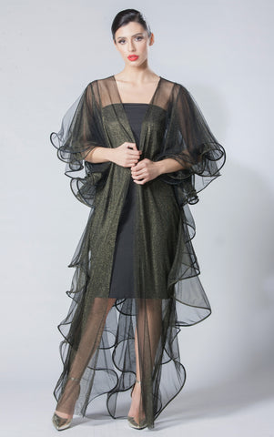 Metallic Full-Frilled Back Abaya