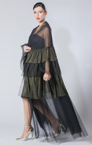 Metallic Tulle Layered Abaya