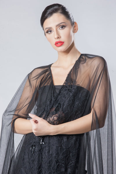 Tulle Abaya with Floral Lace Embellishment
