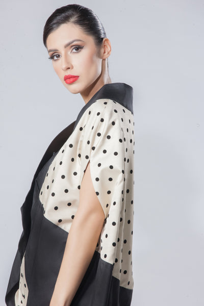 Raw Silk Polka Dot Velvet Cardigan