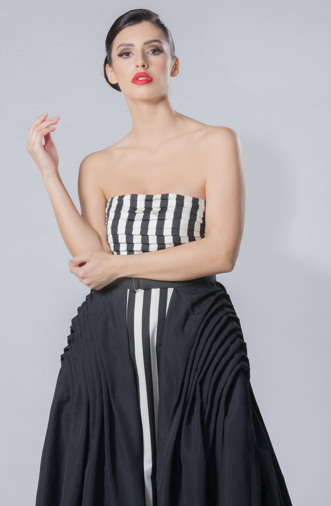 Striped Silk Dress with Detachable Taffeta Skirt
