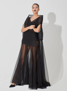 High Collar Abaya Blended with Gathered Tulle
