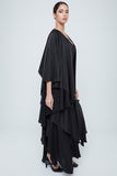 Flowy abaya with multiple soft layers of silk