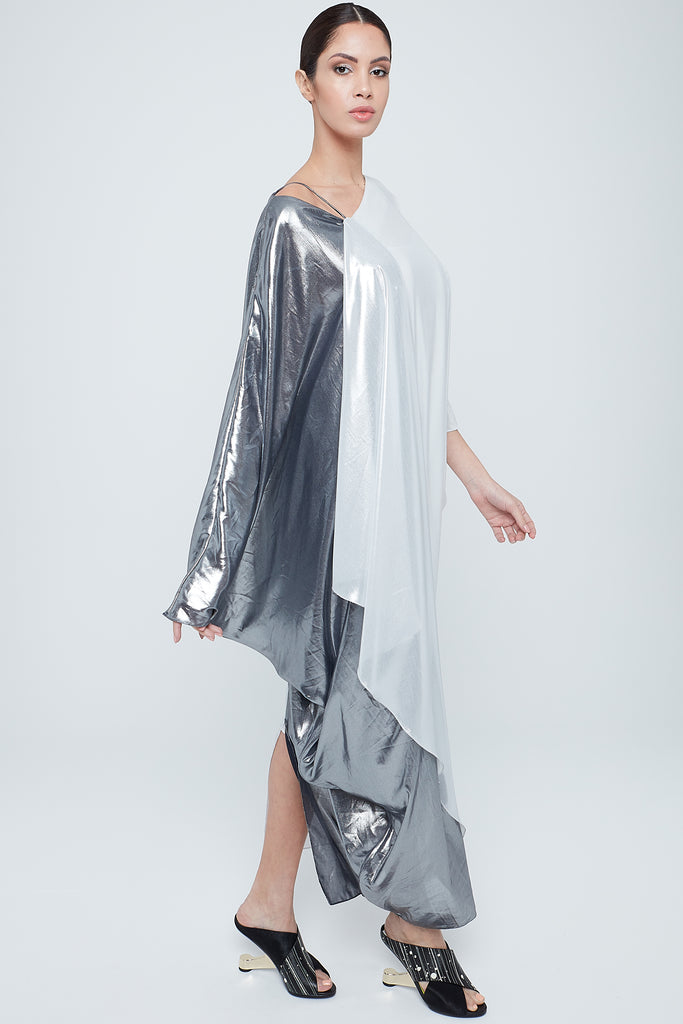 Two-toned metallic foil chiffon kaftan