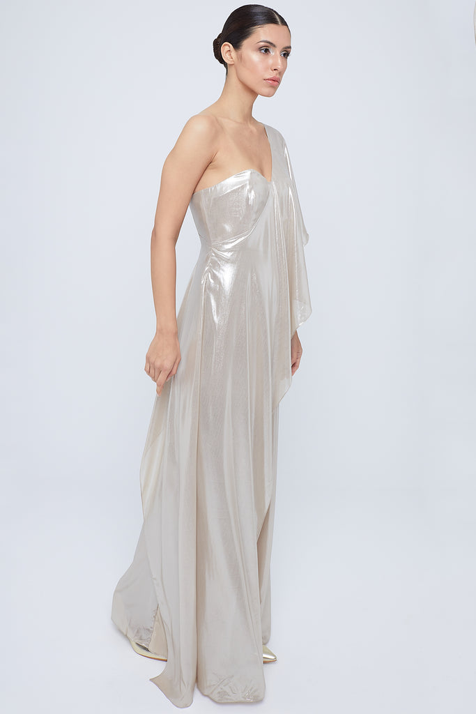 One shoulder silk fabric jumpsuit wide legged with fitted bustier cut wrapped with one sided frill