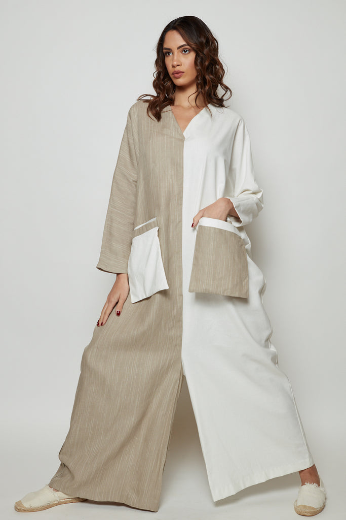 Two toned jumpsuit oversized linen with double outer pockets