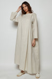 Metallic Linen Kaftan With Over Lapped Silhouette Secured with a Jumbo Pearl Button