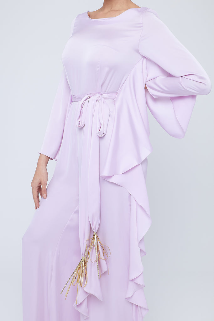 Silky jumpsuit with soft multiple frills on pants side and belt with embellished tassel
