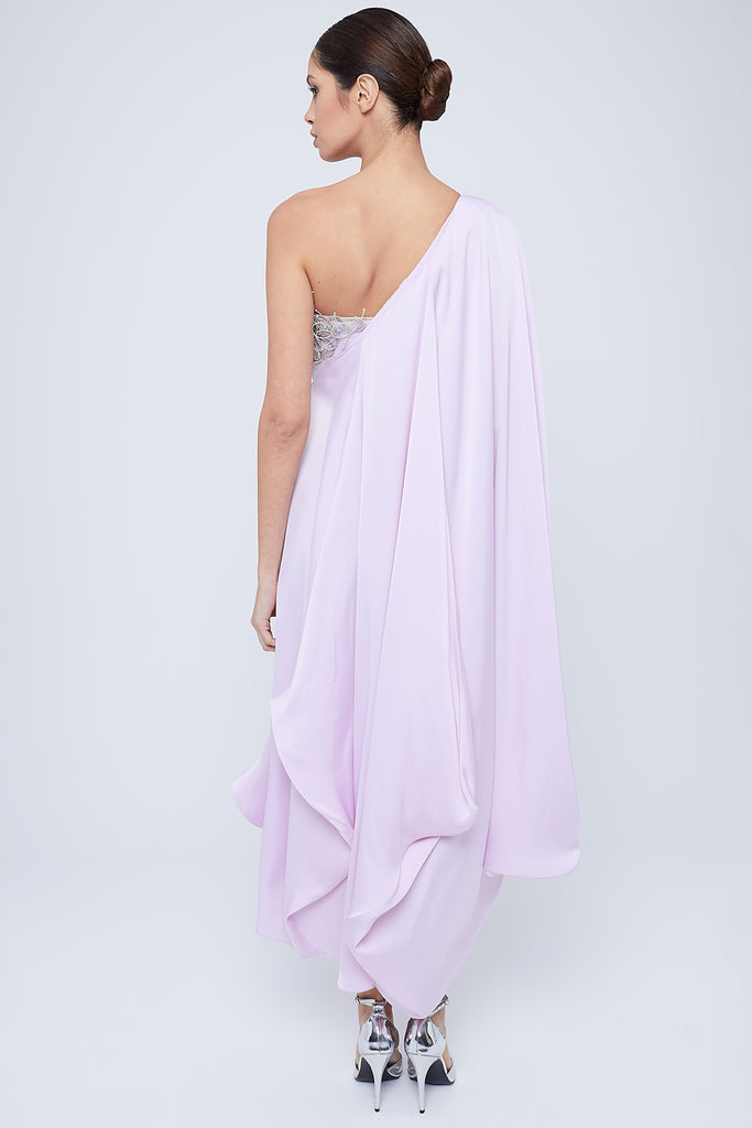 One shoulder draped dress with fitted buster embellished with metallic thread