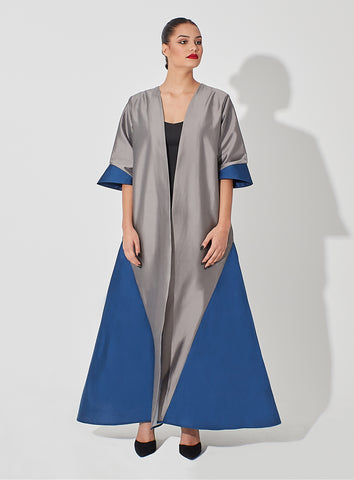 Two Toned Raw Silk Abaya with Geometrical Structure