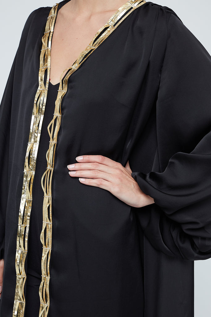 Flowy silk abaya with mettalic embellishment