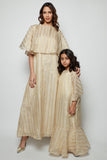 Flowy Striped Metallic Linen Kaftan with Over-sized Collar