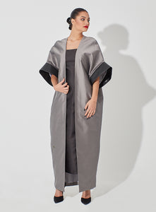 Long Raw Silk Cardigan Blended with Leather on Sleeve Edge