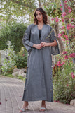 Metallic linen classic cut abaya with buttons from top to bottom on sleeve and body