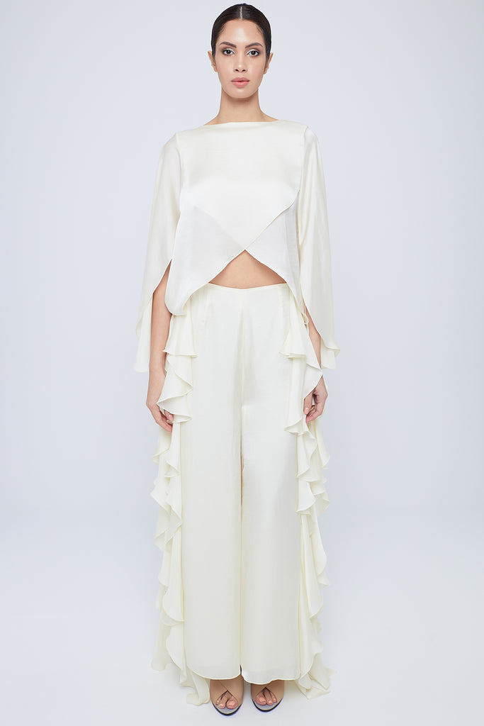 Wide legged silky satin pants with side frills