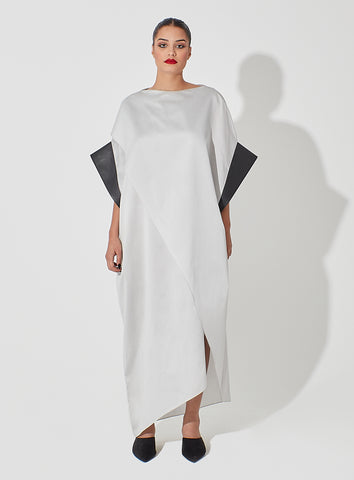 Overlapping Geometrical Raw Silk Kaftan with Leather Trim Sleeves