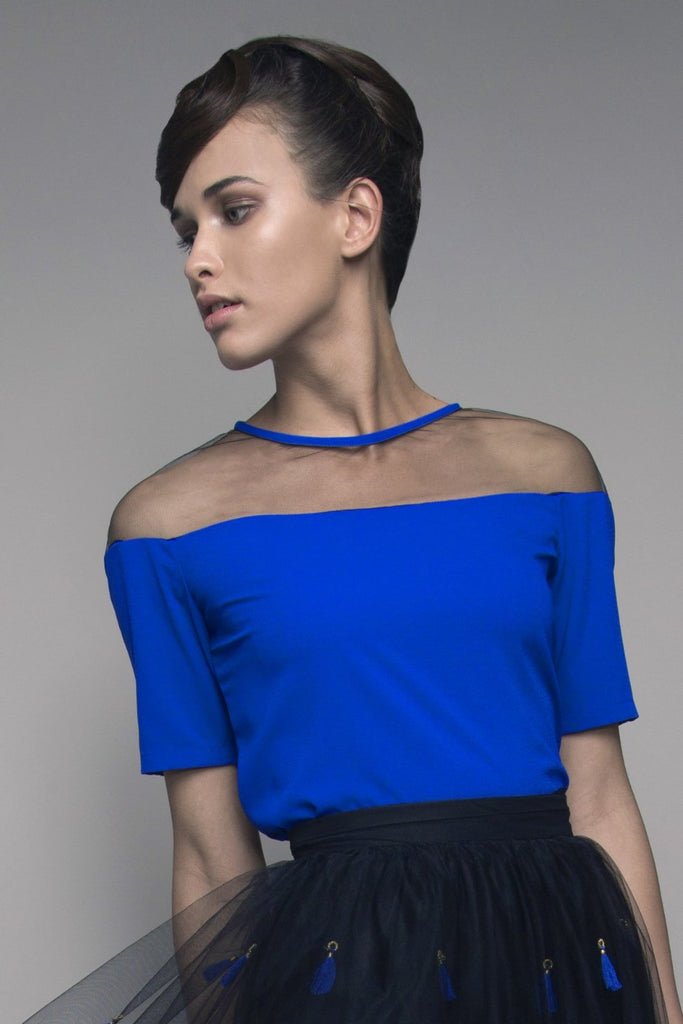 Sheer-Paneled Crepe Top