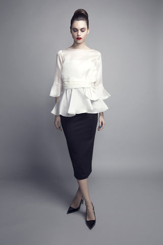 Front-Bow Thick Organza Top