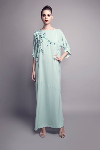 Machine-Embroidered Sleeved Crepe Kaftan