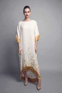 Machine-Embroidered Fringed Crepe Kaftan