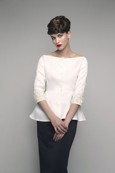 Embroidered Off-The-Shoulder Thick Organza Top