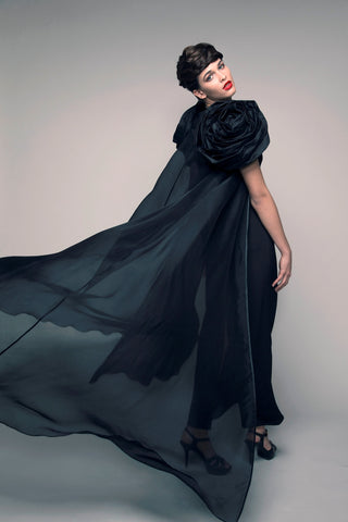 Sheer Organza Rose Abaya