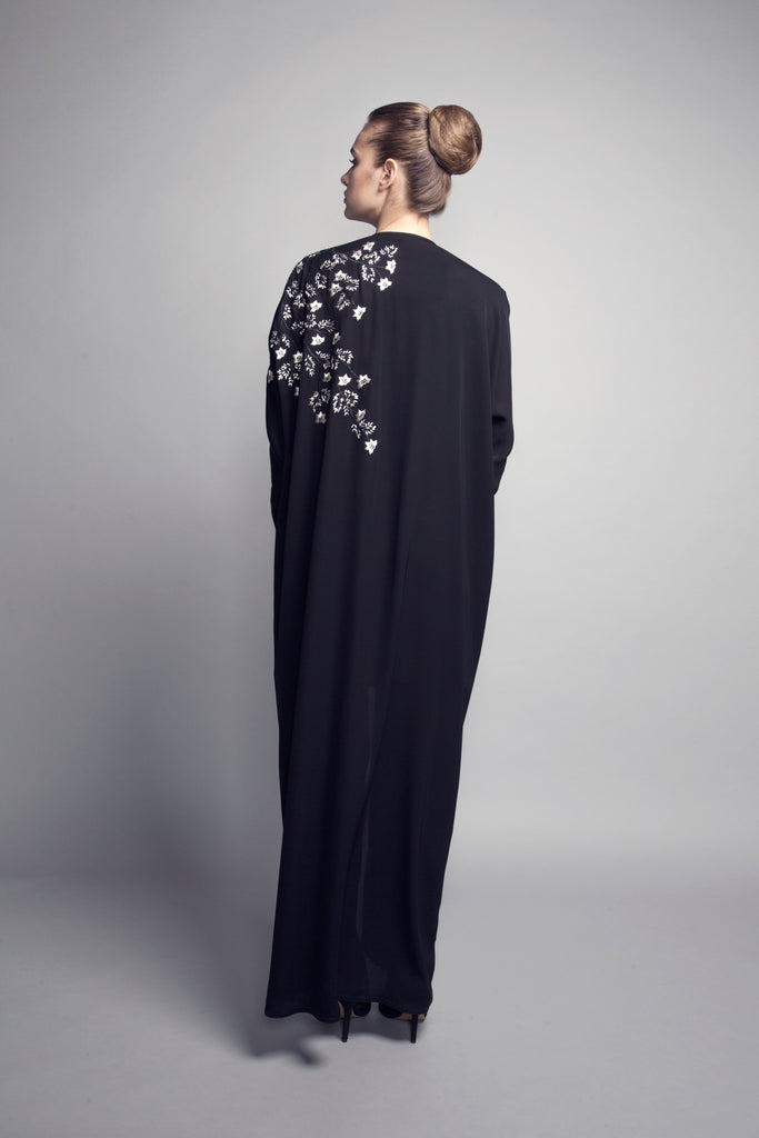 Machine-Embroidered Cuff-Sleeved Crepe Abaya