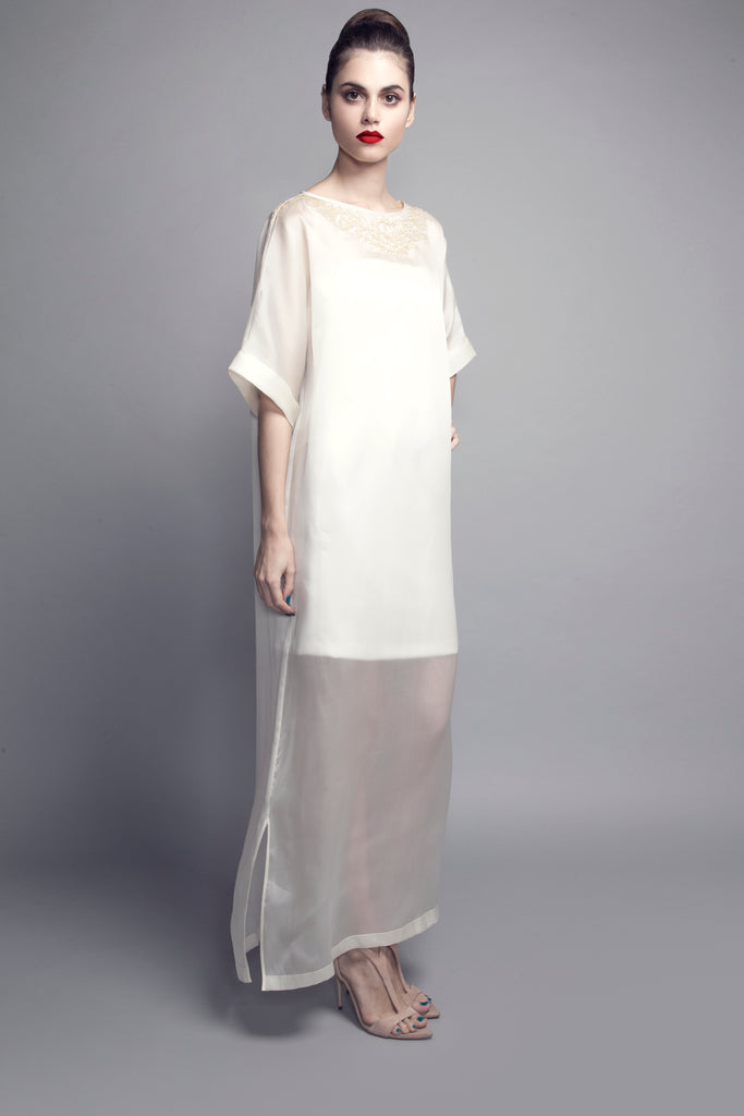 Machine-Embroidered Organza Kaftan