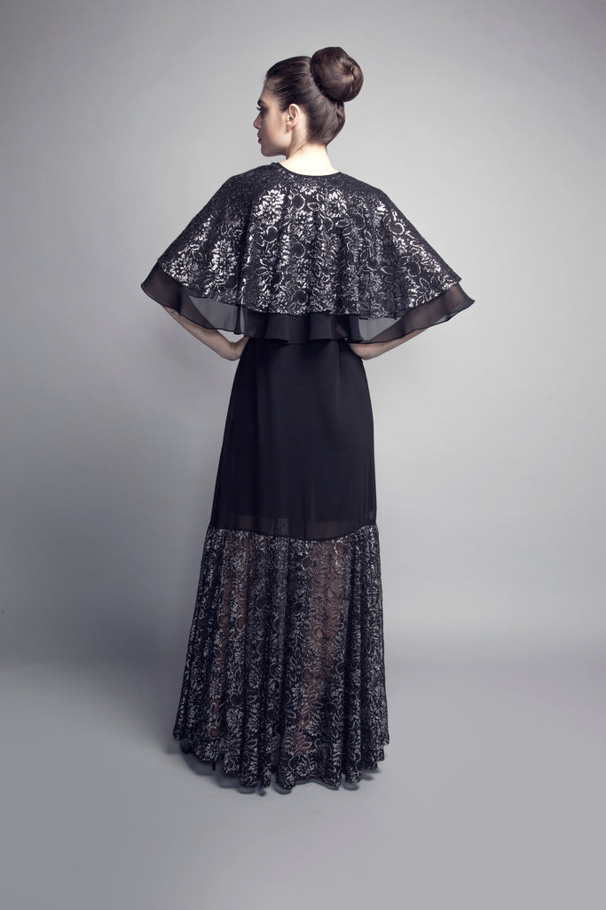 Cape-Style Black and Silver Lace Abaya