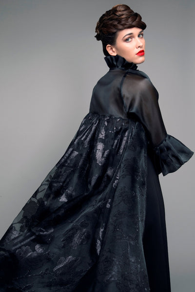 High-Neck Black Floral Organza Abaya