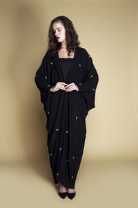 Daisy Machine-Embroidered Dolman Crepe Abaya